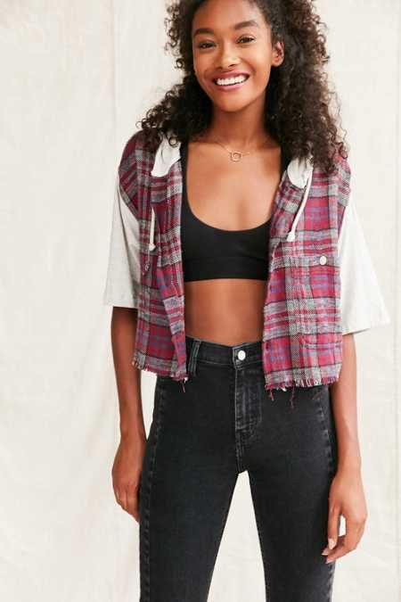 Urban Renewal Remade Hooded Cropped Flannel Shirt
