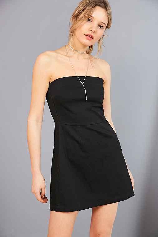 Silence + Noise Strapless A-Line Mini Dress,BLACK,2