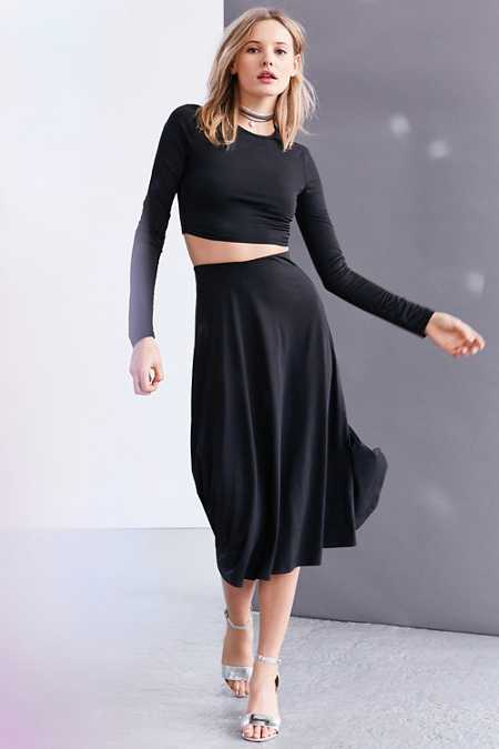 Silence + Noise Slinky Long-Sleeve Two-Piece Dress Set