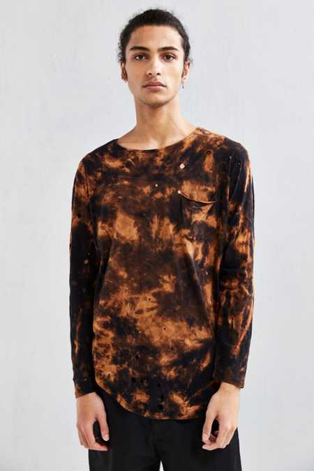 Feathers X US Rags Curved Hem Long-Sleeve Tee