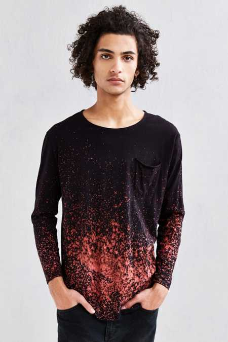 Feathers X US Rags Bleach Splatter Long Sleeve Tee