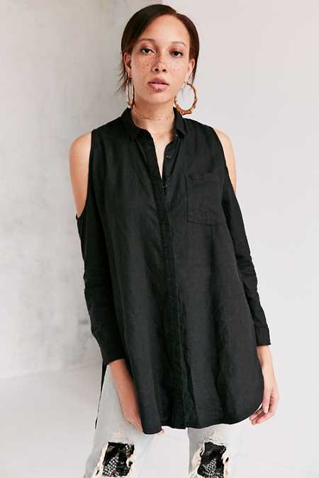 Silence + Noise Ciara Cold Shoulder Button-Down Shirt