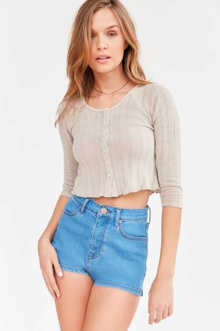 Kimchi Blue Maisy Button-Front Thermal Cropped Top
