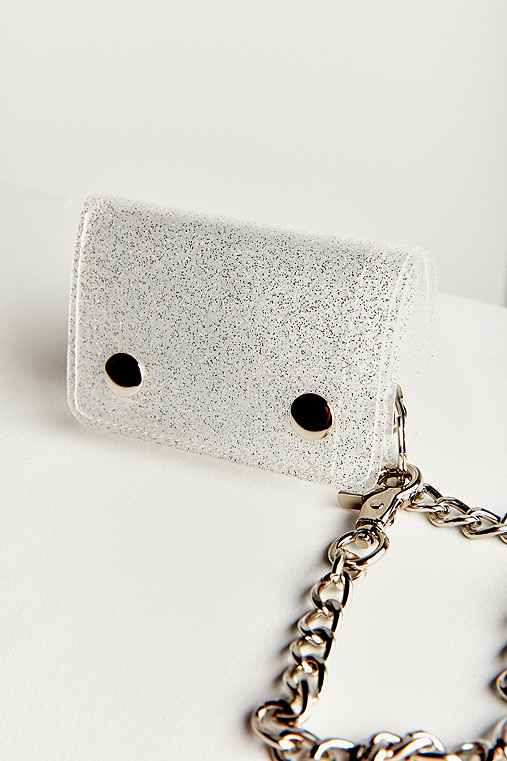 Glitter Chain Wallet,SILVER,ONE SIZE
