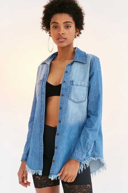 BDG Frayed Denim Button-Down Shirt