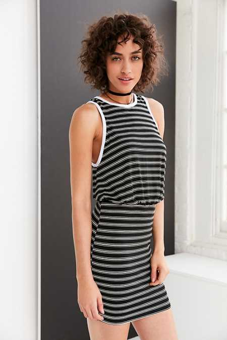 BDG Striped Blouson Mini Dress