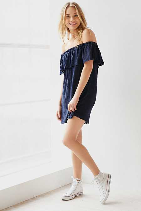 Kimchi Blue Lace Ruffle Off-The-Shoulder Mini Dress