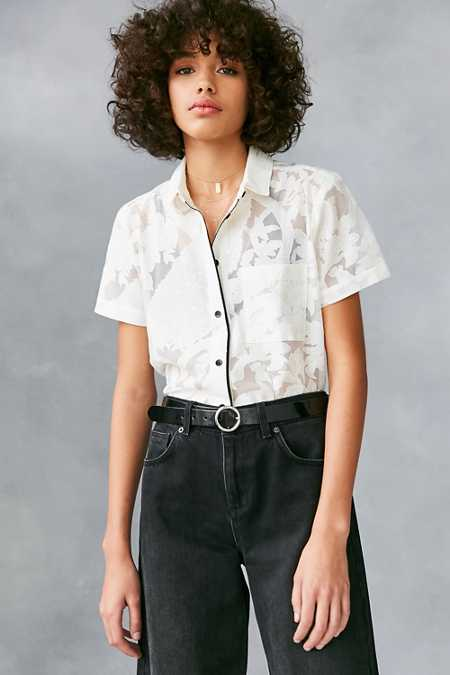 Cooperative Peacock Floral Mesh Button-Down Shirt