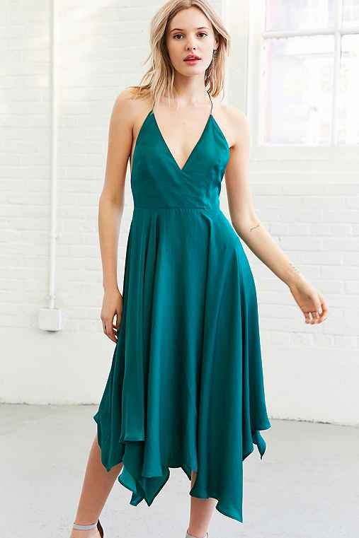 Kimchi Blue Vida Satin Handkerchief Midi Dress,GREEN,0