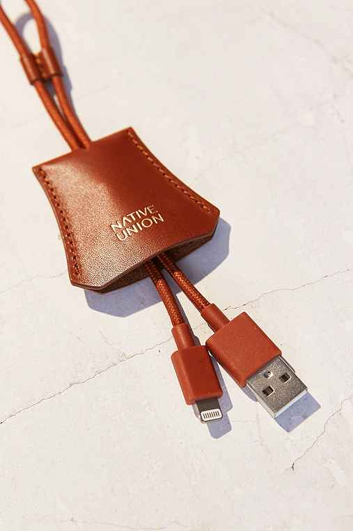 Native Union Leather Tag Lightning Cable,BROWN,ONE SIZE