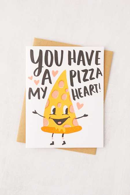 Hello! Lucky Pizza My Heart Letterpress Greeting Card