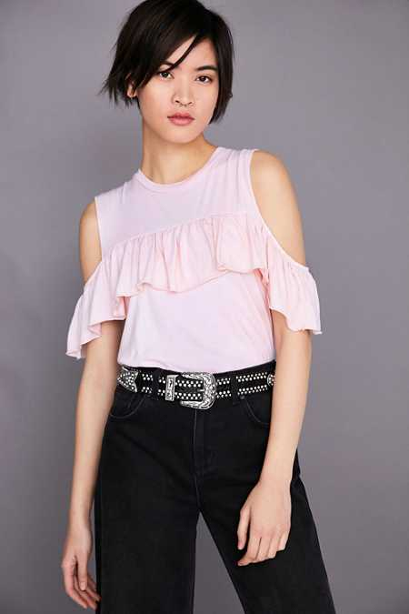 Truly Madly Deeply Ruffle Cold Shoulder Muscle Tee