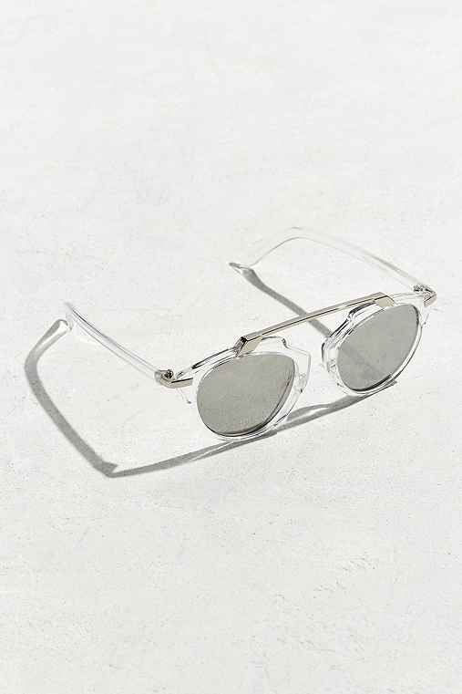UO Plastic Brow Bar Sunglasses,CLEAR,ONE SIZE