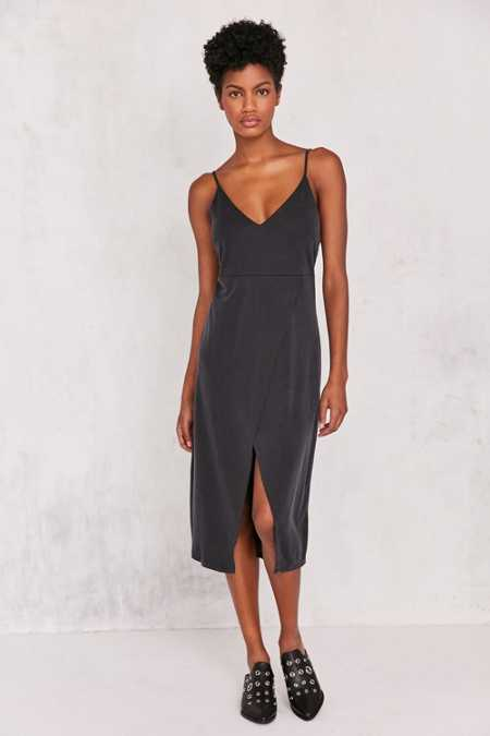 Silence + Noise Cupro V-Neck Midi Wrap Dress