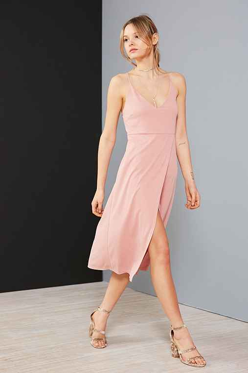 Silence + Noise Cupro V-Neck Midi Wrap Dress,PEACH,M