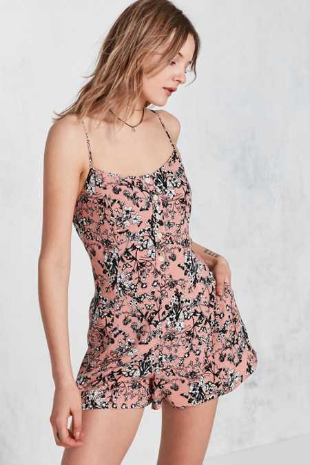 Kimchi Blue Butterfly Print Button-Front Slip Romper