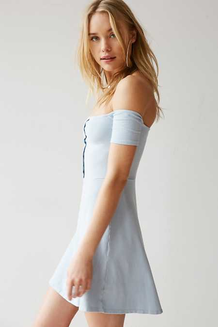 Truly Madly Deeply Off-The-Shoulder Button-Front Mini Dress