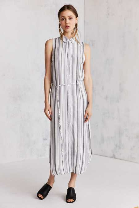 Cooperative Sleeveless Striped Midi Shirt Dress