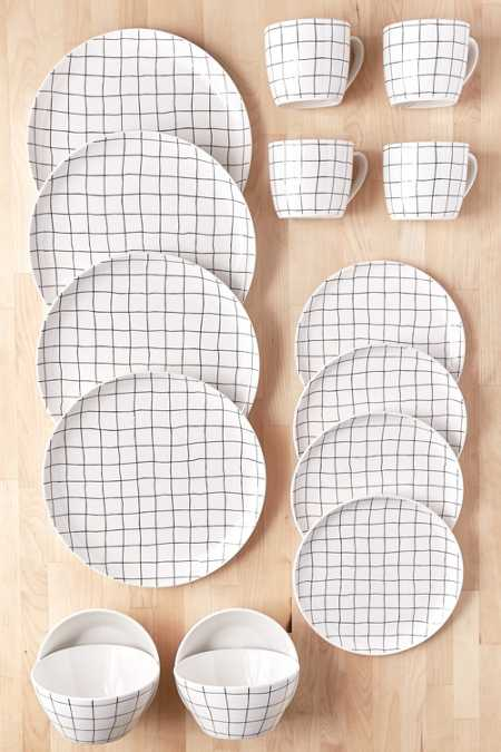 16-Piece Wonky Grid Dinnerware Set