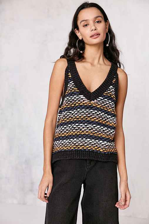 Ecote Asher Stripe-Stitch Sweater Tank Top,BLACK MULTI,L