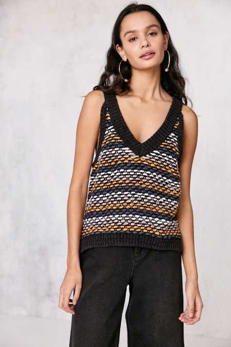 Ecote Asher Stripe-Stitch Sweater Tank Top
