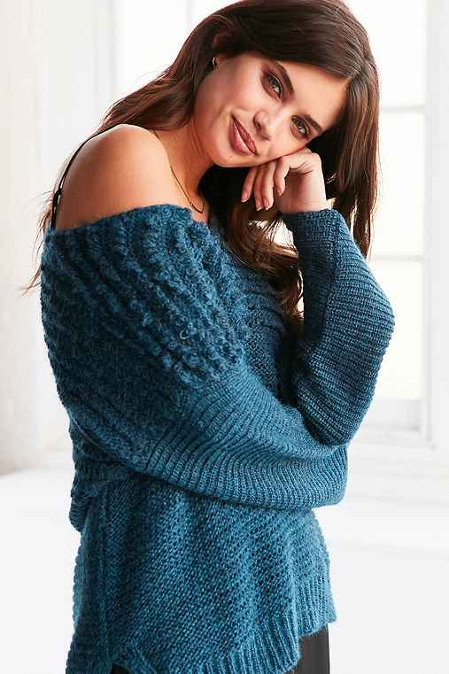 Ecote Marley Loop-Stitch V-Neck Sweater,BLUE,XS/S