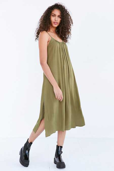 Ecote Shirred Gauze Midi Slip Dress