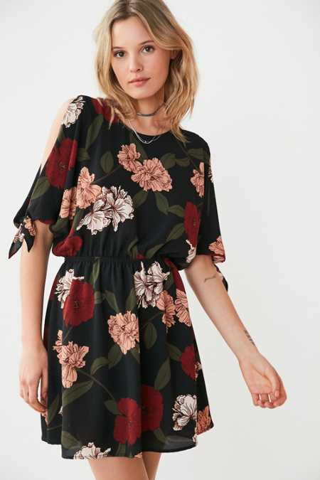 Kimchi Blue Cold Shoulder Floral Blouson Mini Dress