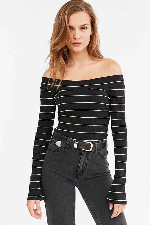 Silence + Noise Rib Knit Off-The-Shoulder Top,WASHED BLACK,L