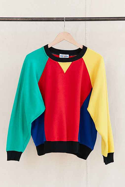Vintage Color Block Sweatshirt,ASSORTED,ONE SIZE