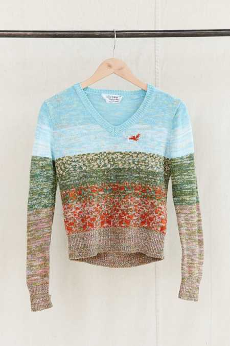 Vintage Yarn Dyed V-Neck Sweater