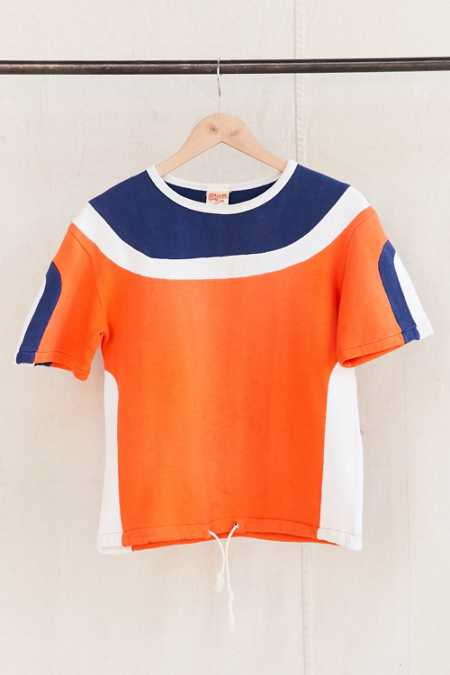 Vintage Color Block Short-Sleeved Sweatshirt