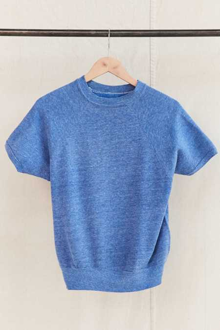 Vintage Blue Short-Sleeved Sweatshirt
