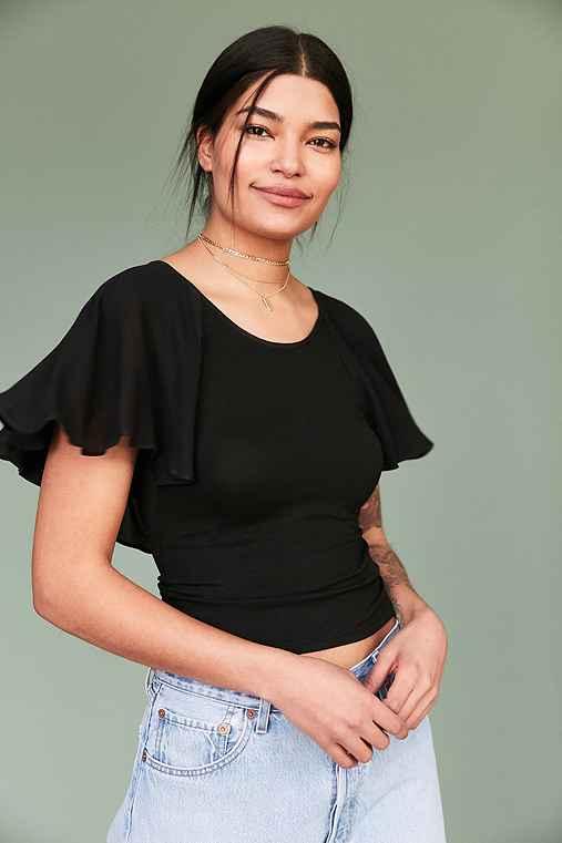 Kimchi Blue Anastasia Flutter-Sleeve Tee,BLACK,M