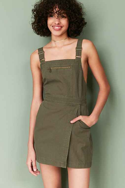 BDG Jessy Wrap-Front Overall Mini Dress,OLIVE,10