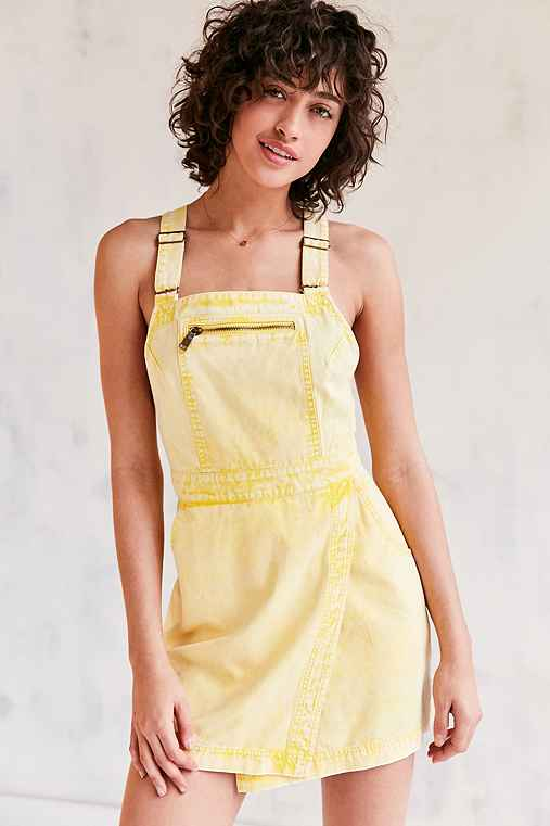BDG Jessy Wrap-Front Overall Mini Dress,YELLOW,0