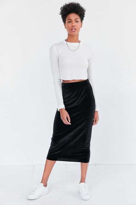Silence + Noise Velvet Pull-On Column Midi Skirt