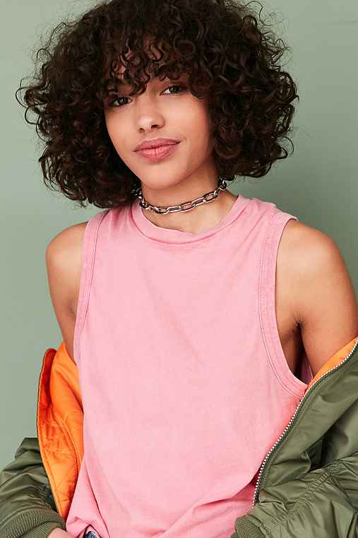 Silence + Noise Washed Out Muscle Tee,PINK,XS