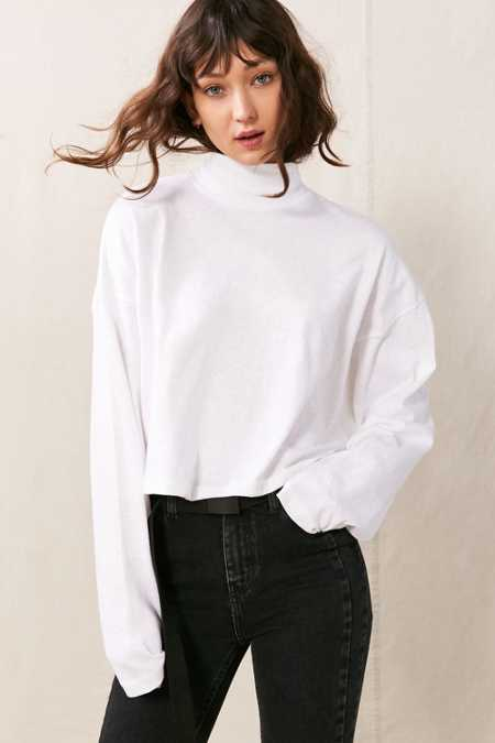 Vintage Oversized Mock Neck Long-Sleeved Shirt