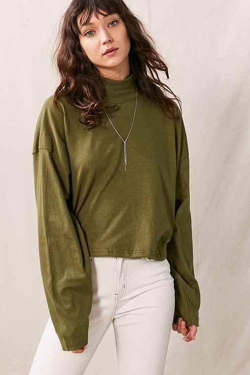 Vintage Oversized Mock Neck Long-Sleeved Shirt,OLIVE,ONE SIZE