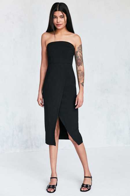 Silence + Noise Structured Strapless Midi Dress