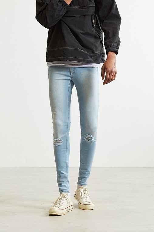 Cheap Monday Ripped Blue Super Skinny Jean,VINTAGE DENIM LIGHT,28/29