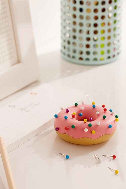 Desk Donut Pushpins + Holder Set,MULTI,ONE SIZE