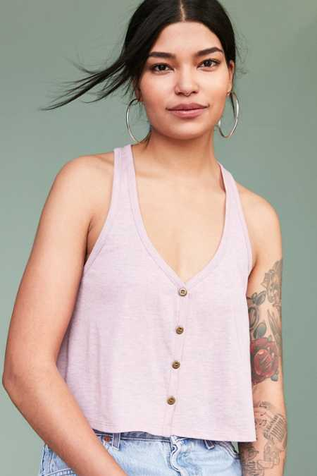 Ecote Benny Button-Down Swing Tank Top