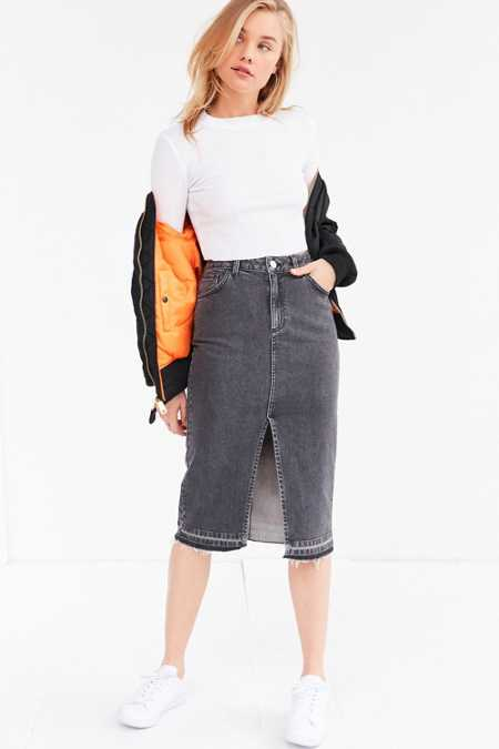 BDG Released Hem Denim Pencil Midi Skirt