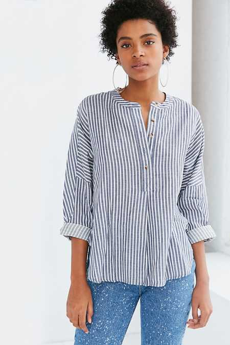 BDG Taylor Striped Button-Front Shirt
