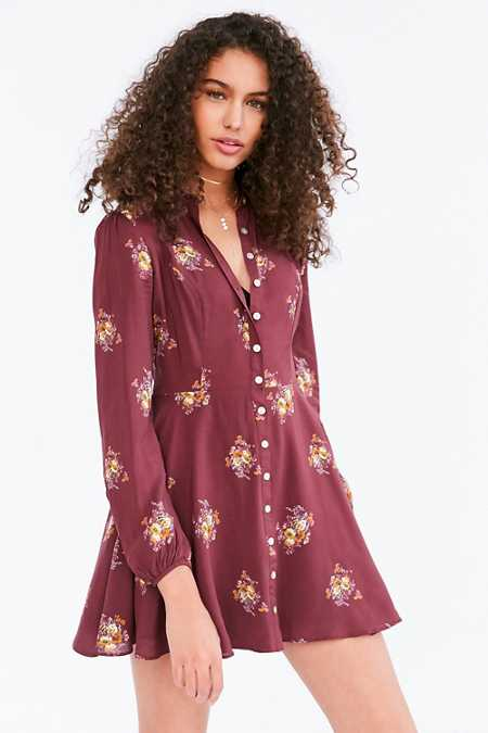 Kimchi Blue Sabrina Floral Long-Sleeve Mini Shirt Dress