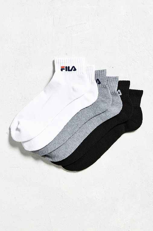 FILA Wordmark Quarter Sock 3-Pack,WHITE,ONE SIZE