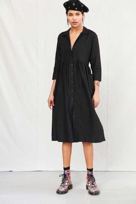 Urban Renewal Remade Linen Button-Down Babydoll Dress