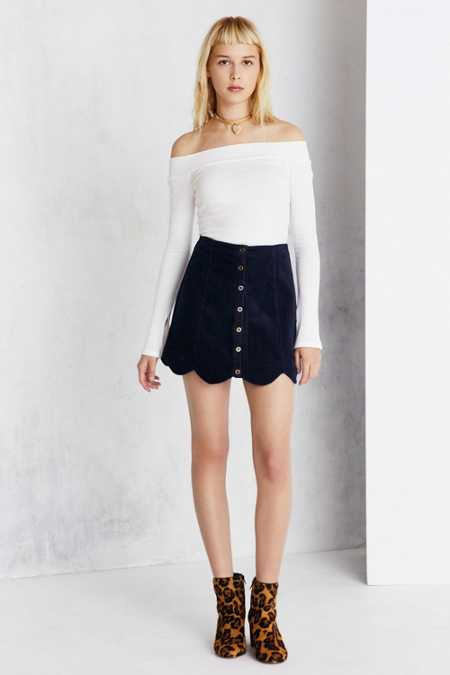 Cooperative Scalloped Button-Front Corduroy Mini Skirt